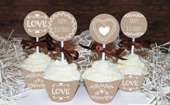 Rustic Birthday cupcake toppers printable by MagicPartyDesigns
