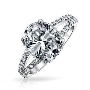 Bling Jewelry 3.5ct Sterling Silver CZ Oval Engagement Ring