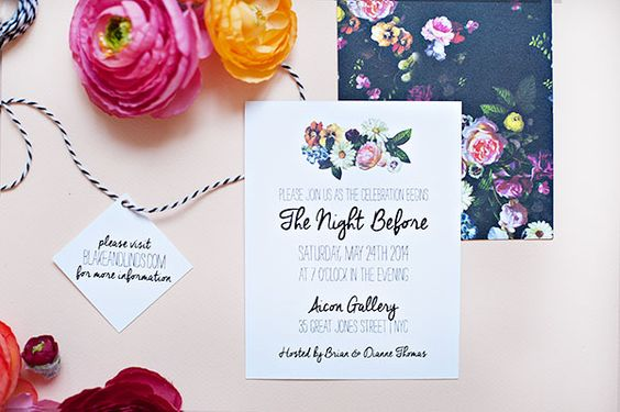 contrast, one invite is bold and dark and the other has the same elements but lighter feel