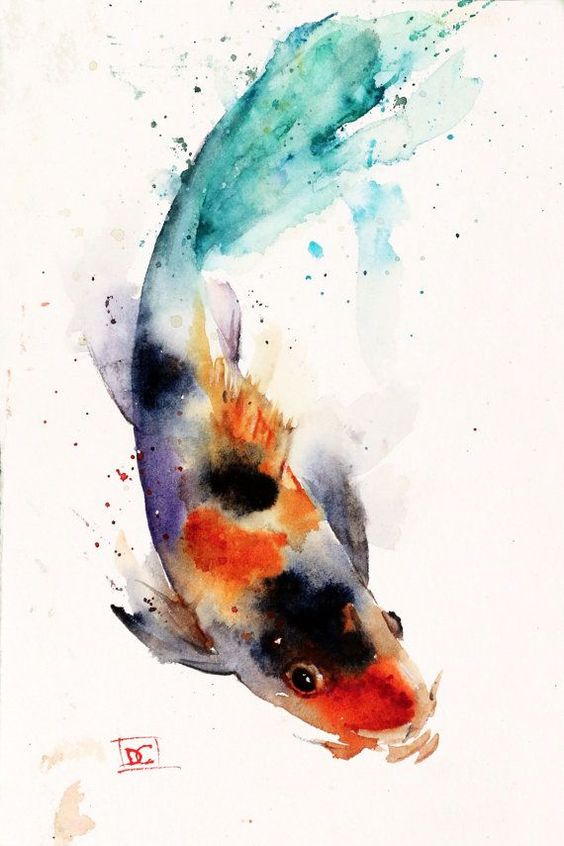Koi watercolor fish print koi art koi painting by dean for Koi swimming