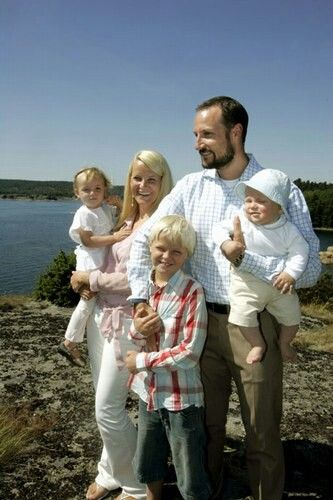 Prince Haakon, Princess Mette-Marit, Princess Ingrid, Prince Sverre Magnus and Marius Borg Høiby.