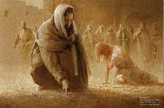 "Jesus writes on the ground...2008. by Yongsung Kim ""neither do I condemn you""! FRAMEWORKS GALLERY:"