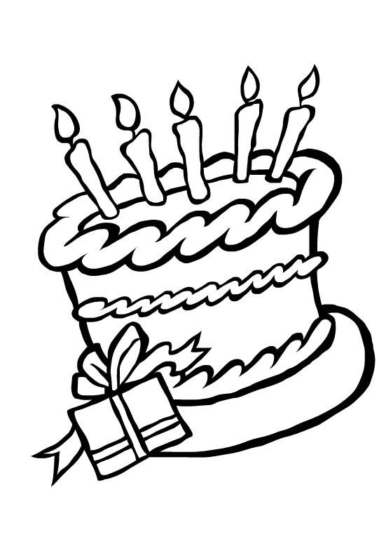 kleurplaat verjaardagstaart verjaardag birthday