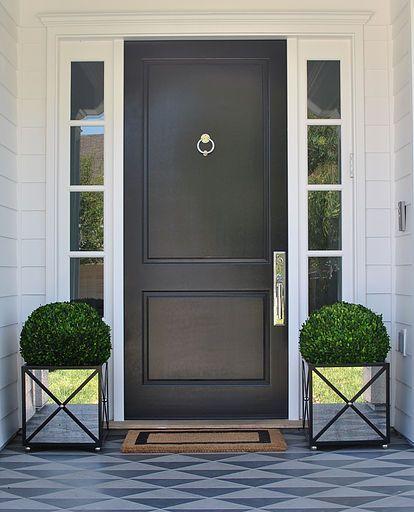 Classic Door Design With Window Panels On The Side Ryan Saghian Interiors House Front Door Front Entry Doors Black Front Doors