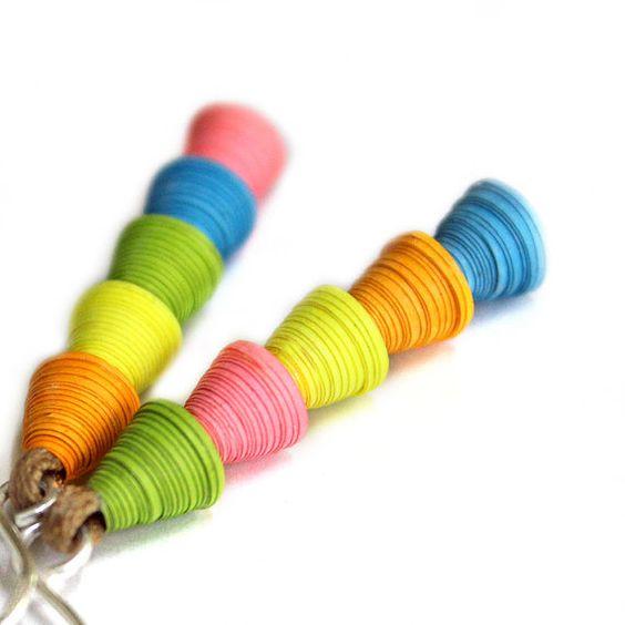 Splashy neon earrings - First year anniversary gift - Paper jewelry - Colorful earrings - Funky jewelry - Bold earrings - Long Earrings