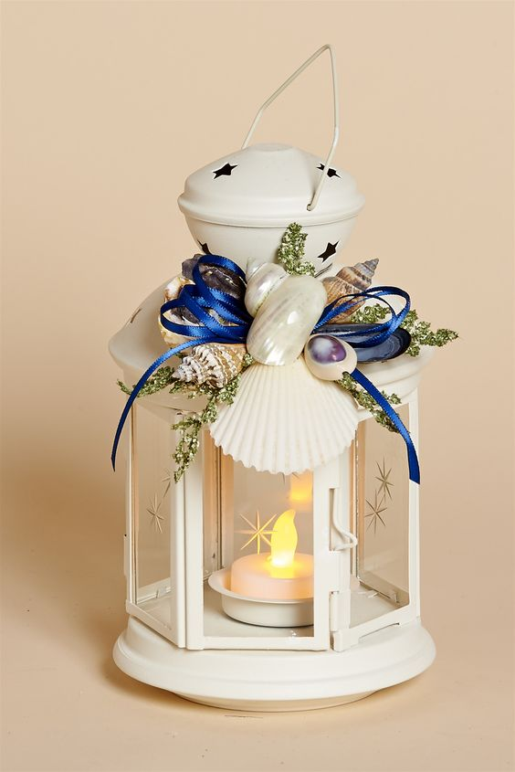 """8"""""""" White Metal Lantern with White Shell Removable Collar with Navy Blue Bow and Battery Tea Light:"""