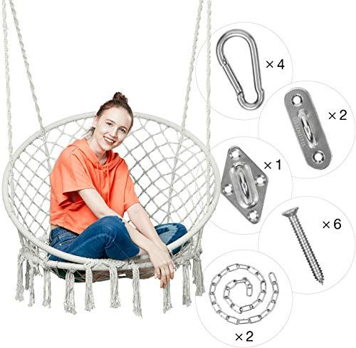 Amazing Offer On Greenstell Hammock Chair Macrame Swing Hanging Kits Hanging Cotton Rope Swing Chair Comfortable Sturdy Hanging Chairs Indoor Outdoor Home In 2020 Hanging Chair Indoor Hanging Chair Rope Chair Swing