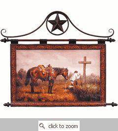 Praying Cowboy Leather Tapestry Wall Hanging