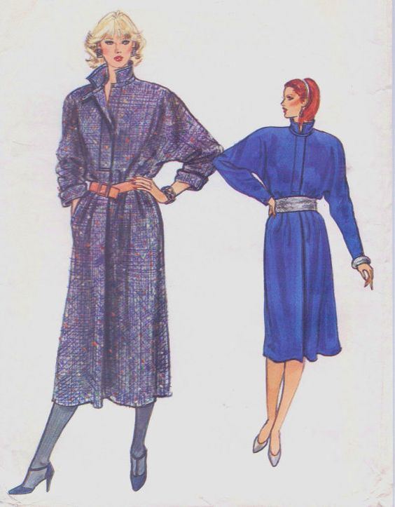 80s Vogue Sewing Pattern 8768 Womens Coat Dress por CloesCloset
