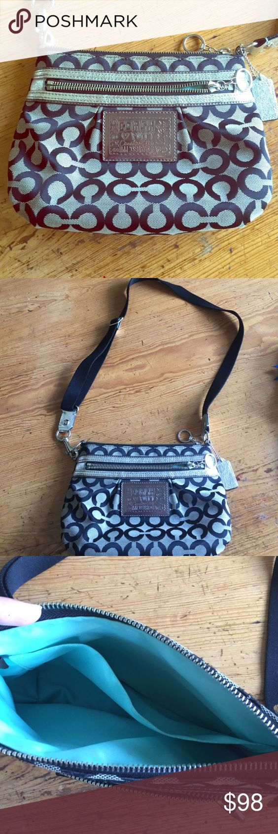 Coach Poppy purse Cross body Poppy purse with large zipper pouch and front zipper pouch. Good condition. Coach Bags Crossbody Bags