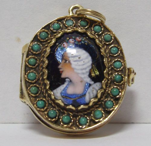 ANTIQUE FRENCH 14 KT SOLID GOLD & ENAMEL  PICTURE LOCKET - HOLDS 6 PICTURES