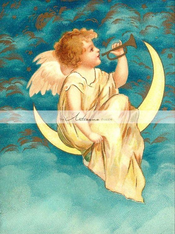 Digital Download Printable Art - Angel Horn Moon Gold Christmas Musical Antique Vintage Image Art -