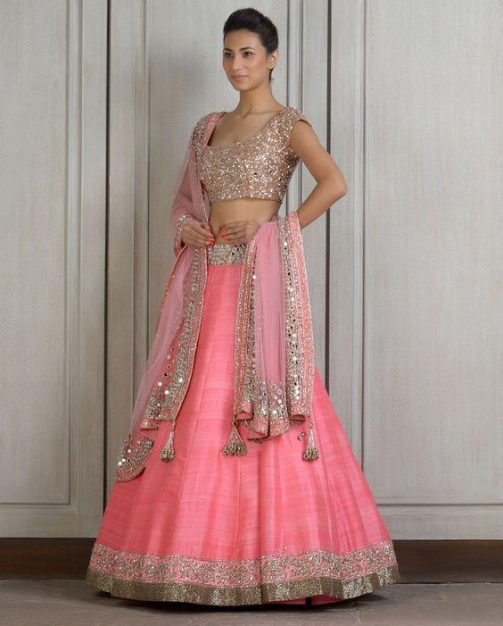 Pink Lengha Set with Mirror Work Manish Malhotra