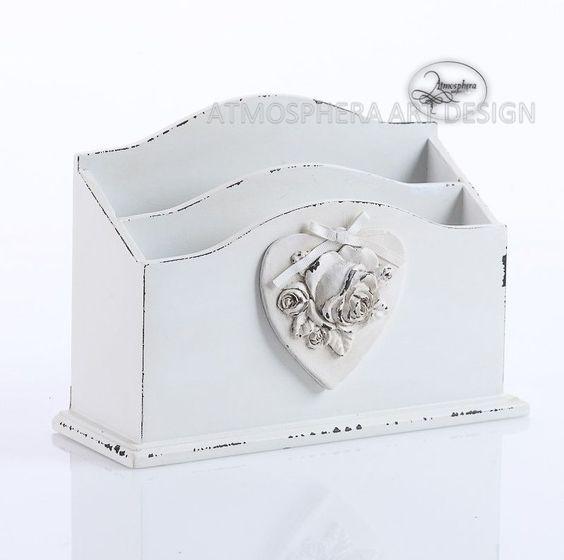 Portaposta lettere da tavolo decor Cuore Rosa in legno bianco shabby chic