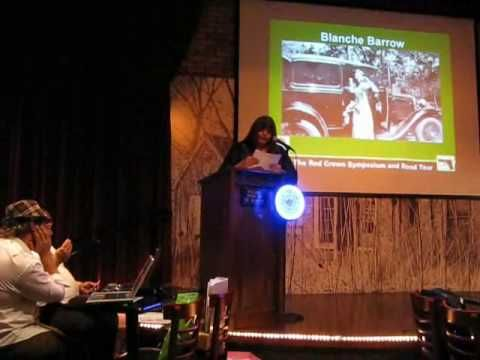 Blanche Barrow Statements after her 1933 arrest at Dexfield Park, Iowa, as read by her cousin, Debborah  Moss, during the 2008 Running With Bonnie and Clyde Red Crown Symposium at the Majestic Zona Rosa Theater, Kansas City, KS