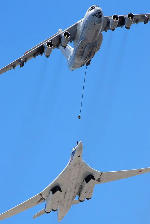 Russian Ilyushin Il-78 tanker and Tupolev Tu-160 Blackjack bomber.