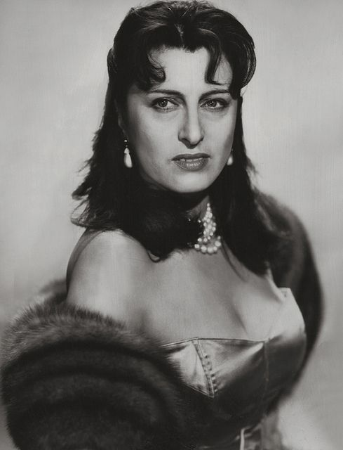 """Anna Magnani, 1955.....She ate and drank very little and could subsist for long periods on nothing more than black coffee and cigarettes. However, these habits often affected her sleep: """"My nights are appalling,"""" she said. """"I wake up in a state of nerves and it takes me hours to get back in touch with reality"""