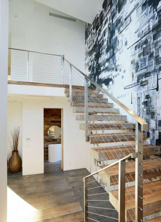 Wand Gestaltung Stein : Wand Gestaltung Tapeten Naturstein Optik Flur  Moderne Häuser