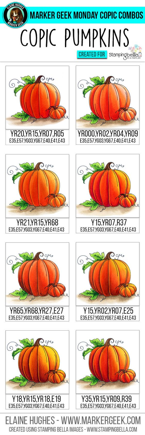 Marker Geek Monday - Copic Colour Combos for Stamping Bella Set of Pumpkins…