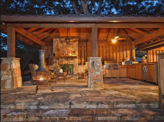 Hip Roof Pavilion With Outdoor Kitchen Backyard