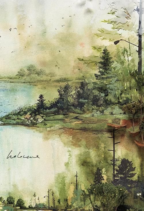 watercolor landscape:
