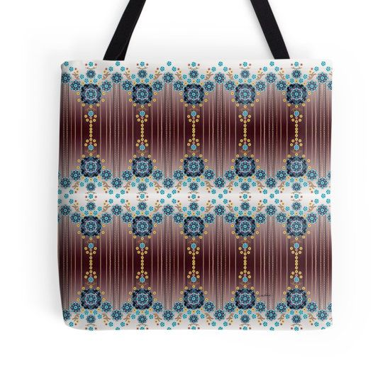 Folk Festival Tote Bag by Polka Dot Studio, #Bohemian #folk #flower #striped #art on #shopping #travel #school #book #bags. Makes a great special occasion #gift.