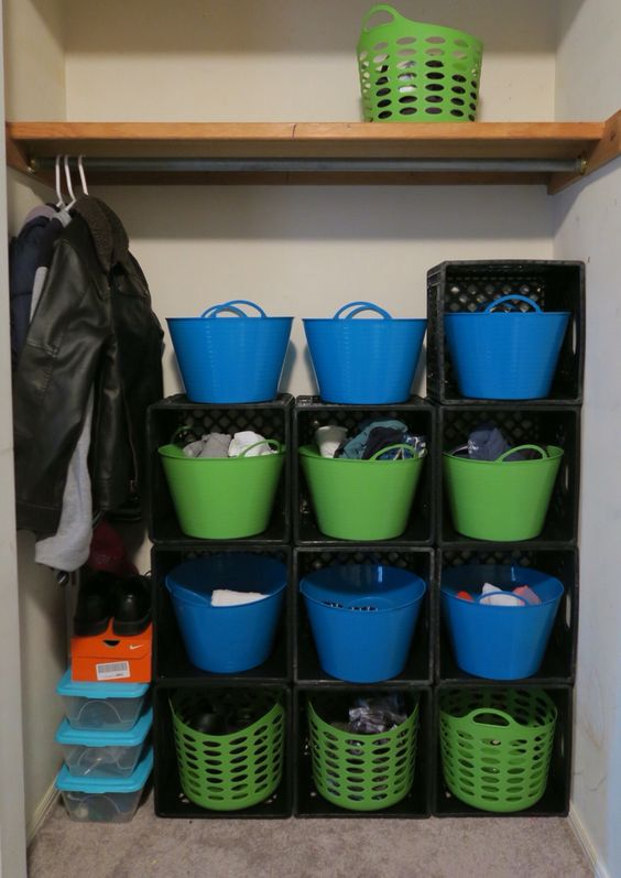 My partially completed plastic milk crate project for my Son's room. #closet organization