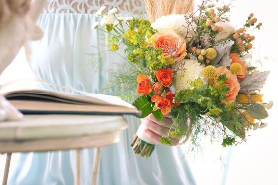 Orange and Green Wildflower Bouquet