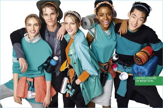 All smiles, Hedvig Palm, Simon Julius Jørgensen, Sabina Lobova, Alecia Morais, and Yong Soo Jeong front United Colors of Benetton's spring 2017 campaign.