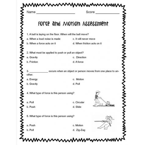 Forces And Motion Worksheets Force And Motion Motion Reading
