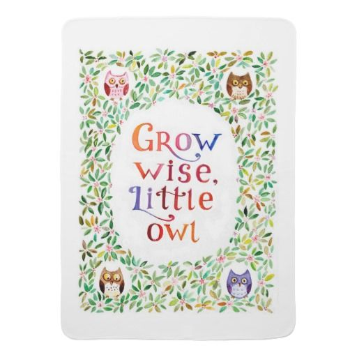 Grow wise little owl watercolor painting stroller blanket