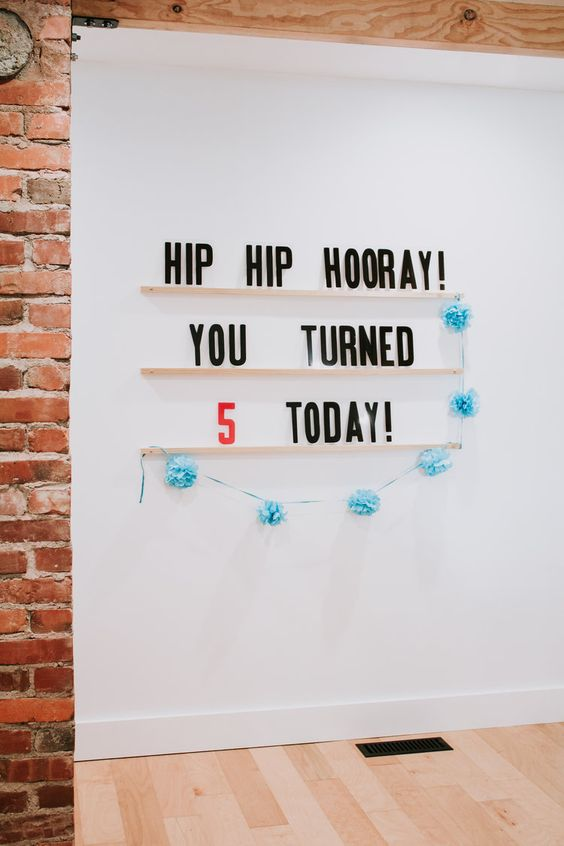 Hip Hip hooray! You turned 5 today! Letters & Ledges by Refined Design - a modern way to decorate your walls with words that inspire you. 3 maple ledges and 279 marquee letters. Funny wall art. Custom word art and wall decor. Funny quote. Modern wall art. Birthday party decor. Happy Birthday sign. modern letterboard