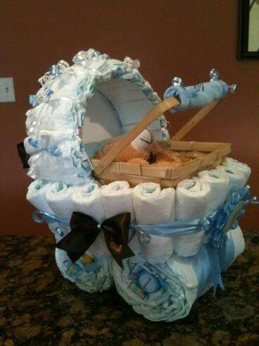 Adorable baby boy buggy diaper cake