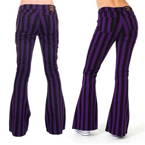 Flare jeans gestreepte unisex broek met wijde pijpen zwart/paars - Indie Retro 60's 70's