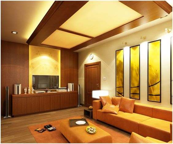 Modern Interior Decoration Living Rooms Ceiling Designs Ideas: Luxury Pop False Ceiling Designs For Small Modern Living Room With Flat Screen TV