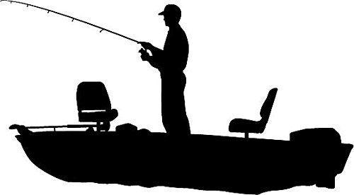 This Is Best Fishing Silhouette 16569 Amazon Com 6 Quot White Vinyl Fisherman B Bass Fishing Shirts Id Fish Silhouette Boat Silhouette Bass Fishing Shirts