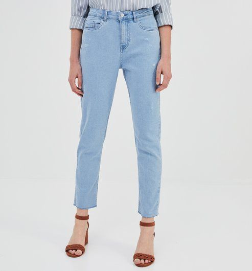 find Jean Mom Court Taille Haute Femme
