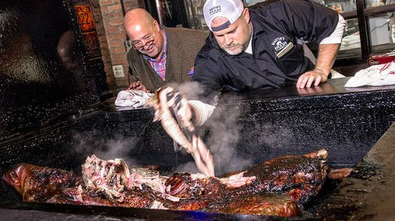 Andrew Zimmern and pitmaster Pat Martin serve up a whole hog's worth of barbecue!