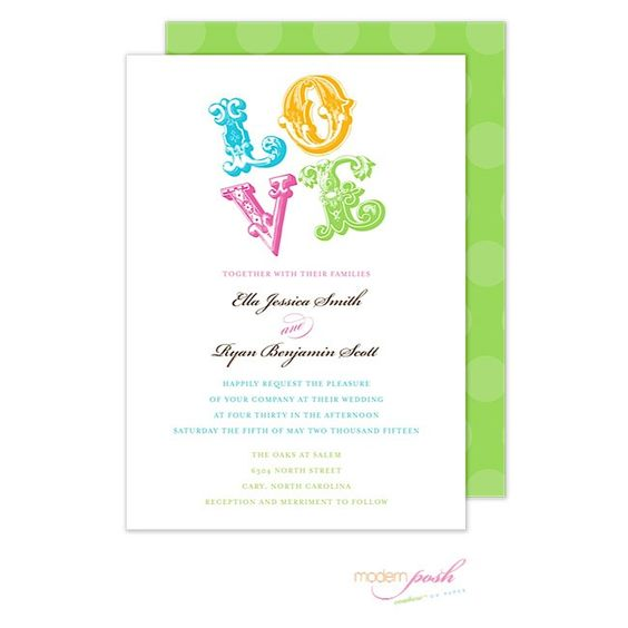 Love Wedding Invitation by Modern Posh