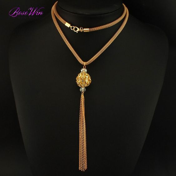 New Popcorn Long Chain For Women Chokers Alloy Ball Tassel Pendants Charm Jewelry Accessories Necklaces CE3372
