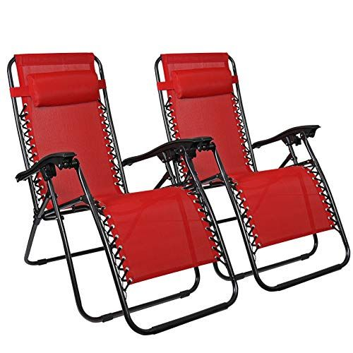 Amazon Com Flex Hq Zero Gravity Chairs Recliner Lounge Patio Chairs Set Of 2 Red Garden Outdoor Zero Gravity Chair Patio Patio Chairs Red Patio