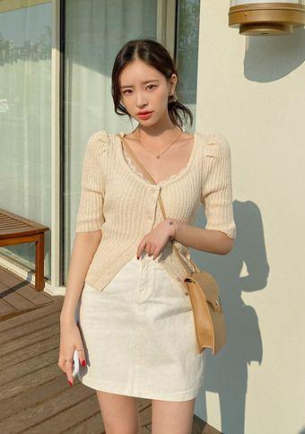 [CHUU] Love For The Puff Cardigan #chuu#chuuxoxo#koreastyle#kpop#koreafashion#ootd#kfashion#dailylook