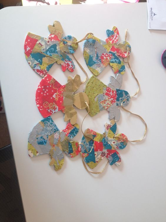 Angels, Christmas Colours - decopatch paper creating lots of patterns and colours