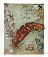 Ingenious Inkling: UmWow Studio Feathers Crafter's Companion Sentimentals - Imagine Shenna's A Little Bit Sketchy - Falling Feathers UmWow Feather Trio UmWow Lucky Confetti Chipboard