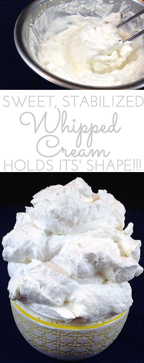 Sweet (Stabilized) Stiff Whipped Cream. What's the secret ingredient whipped cream that keeps its shape for days and in the heat? Easy recipe here!