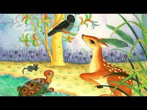 """The Four Friends: Learn Spanish with subtitles - Story for Children """"BookBox.com""""  Cuatro amigos; ciervo, tortuga, cuervo y ratón están preocupados por las trampas del cazador. ¿Lograrán engañarle?"""