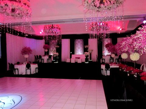 black and pink quinceañera