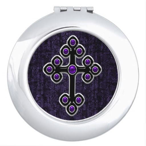 Dark Purple Damask Cross Goth Compact Mirror by Gothic Toggs