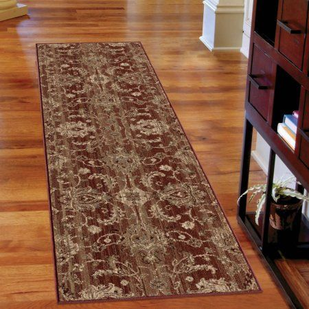 Orian Rugs Unique Designs Leaves Stoke Red Runner, 2'3 inch x 8'