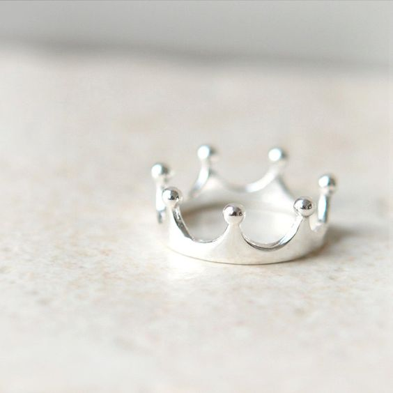 simple crown ring in sterling silver etsy http www
